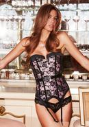 Satin And Lace Corset Pnk/blk Xl