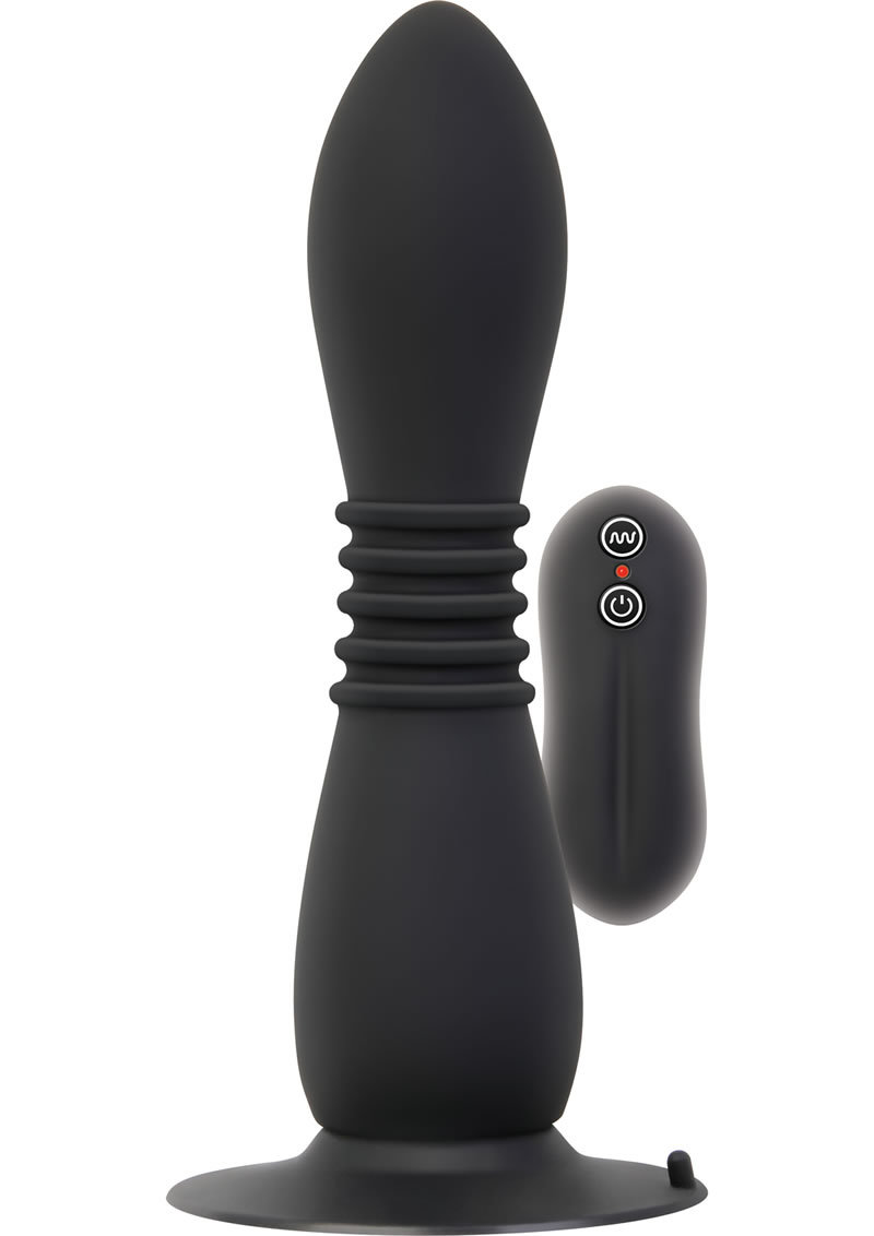 Adam And Eve Anal Power Flex Vibrator Silicone Black 6.75 Inch